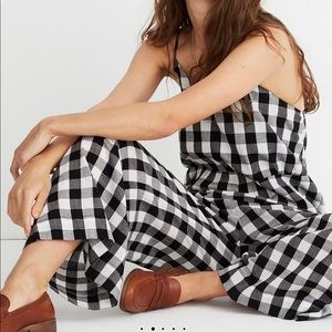 Madewell Cami Wide-Leg Gingham Cotton Jumpsuit